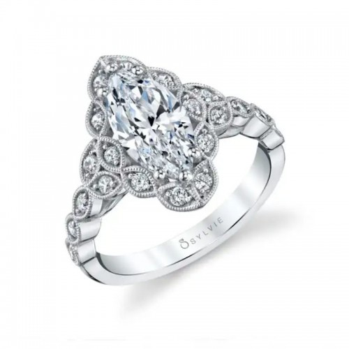 Sylvie Jori Vintage Inspired Flower Marquise Engagement Ring