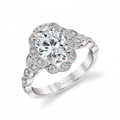 Sylvie Jori Vintage Inspired Flower Oval Engagement Ring