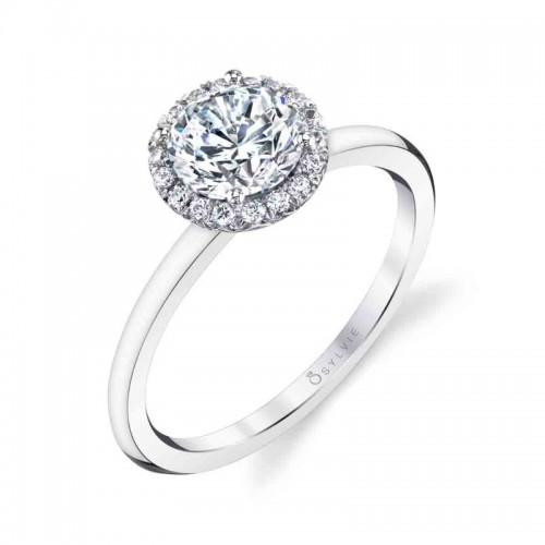 Sylvie Elsie Classic Round Halo Engagement Ring