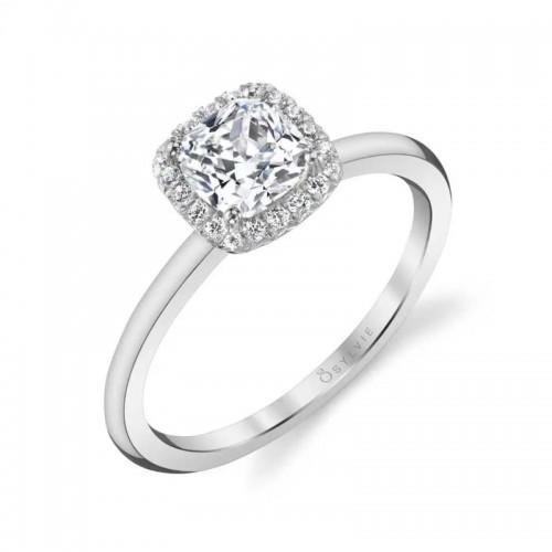 Sylvie Elsie Classic Cushion Halo Engagement Ring