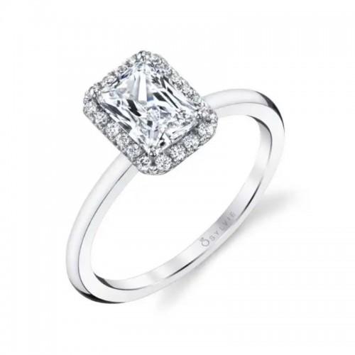 Sylvie Elsie Classic Emerald Cut Halo Engagement Ring
