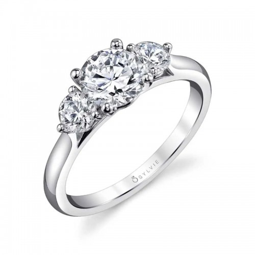 Sylvie Modern Three Stone Engagement Ring