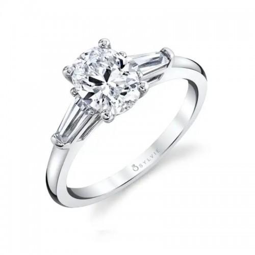 Sylvie Nicolette Three Stone Oval Engagement Ring