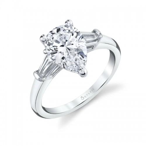 Sylvie Nicolette Three Stone Pear Engagement Ring