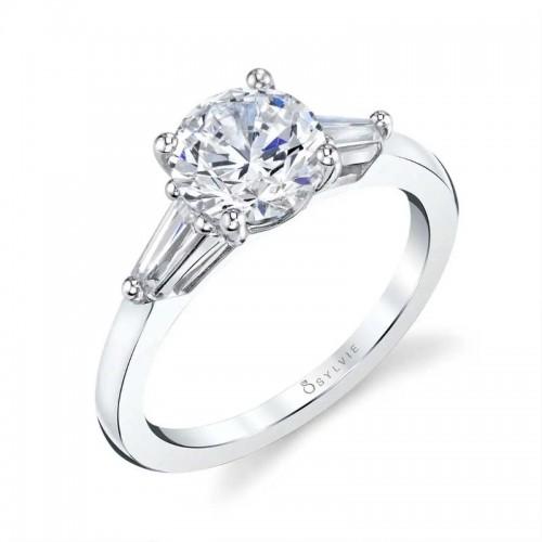 Sylvie Nicolette Three Stone Round Engagement Ring