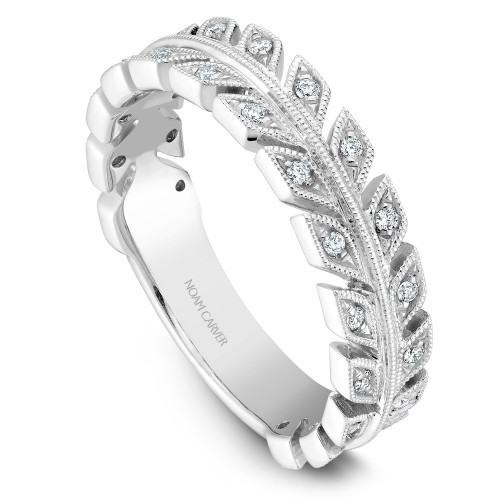 NC Sample 14K Wg .17Ctw Diamond Stackable Leaf Motif Band