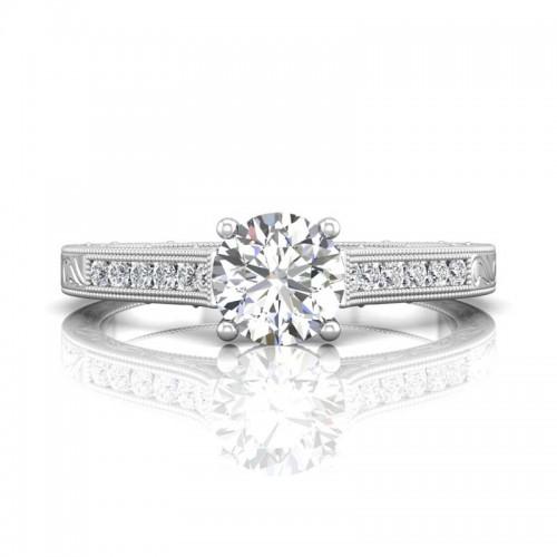FlyerFit® 14K White Gold Vintage Engagement Ring