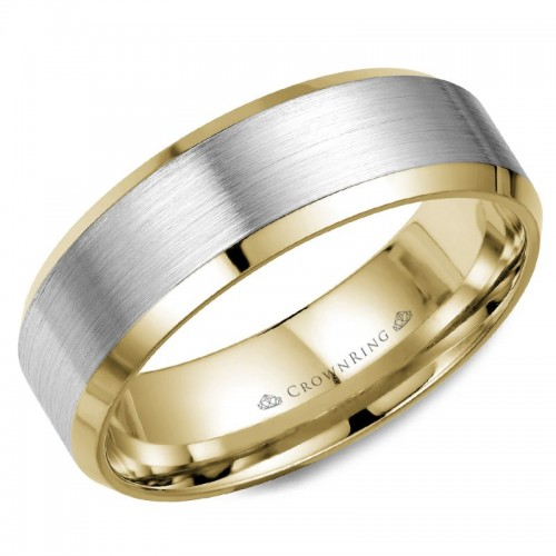 Crown Ring 14K  White Gold With  14K Yellow Gold Inlay 7Mm Sandpaper Center And High Polish Edge Mens Band Size 9