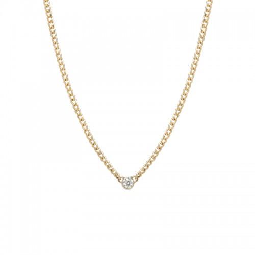 Zoe Chicco 3mm bezel set diamond curb link necklace