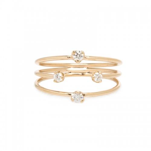 Zoe Chicco 3 thin band mixed size prong diamond ring