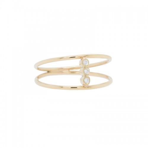 Zoe Chicco triple bezel set diamonds open 2 band ring
