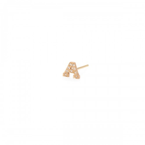Zoe Chicco Initial Pave Diamond Stud Single