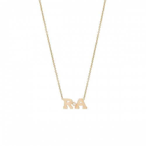 Zoe Chicco Two Initial diamond Necklace