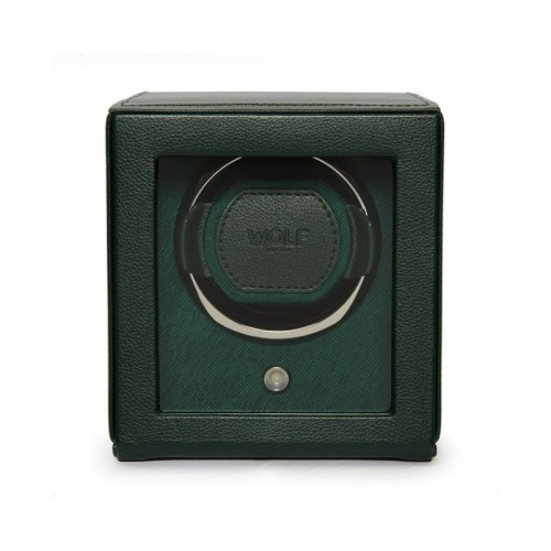 WOLF1834 Single Cub Watch Winder W/ Cover In Green Leather