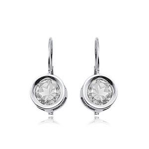 6mm Round Cz W/ Mini Sweep Drop Earrings