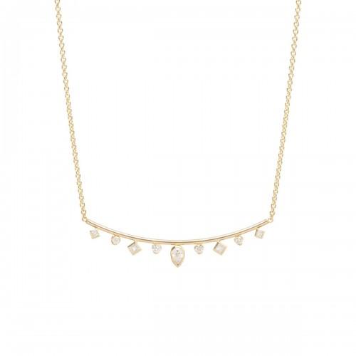 Zoe Chicco Bezel Set Diamond Curved Bar Necklace