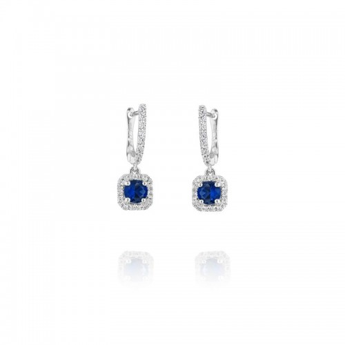 Halo Sapphire Dangle Earrings