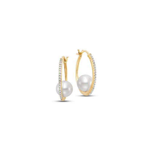 Mastoloni 14K YG  7.5-8MM CULTURED PEARL HOOP EARRING WITH .15CTW