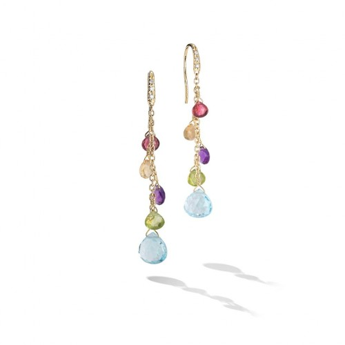 Marco Bicego® Paradise Collection 18K Yellow Gold Diamond and Mixed Gemstone Medium Drop Earrings