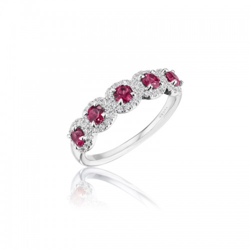 Classic Five-Stone Ruby and Diamond Ring