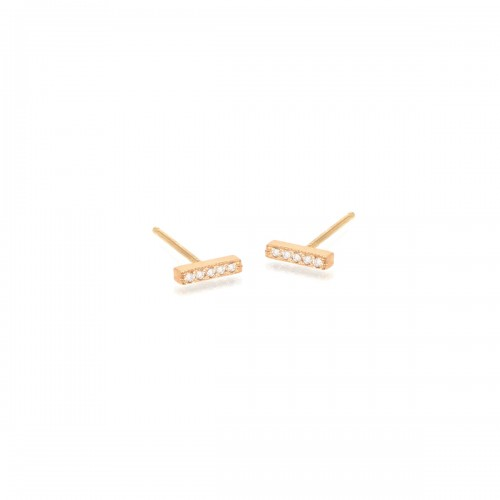 Zoe Chicco Bar W/ Pave Diamond Studs Single