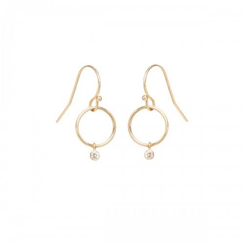 Zoe Chicco Diamond Tiny Drop Circle Earrings .06ctw