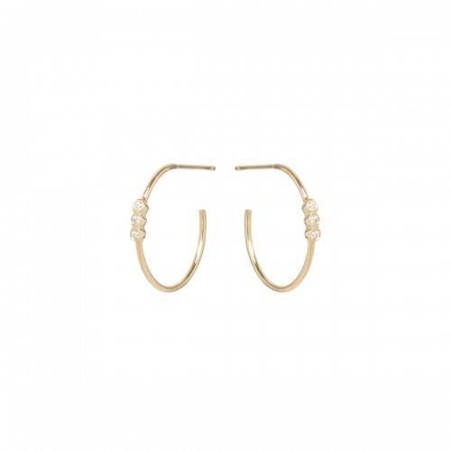 Zoe Chicco 3 Bezel Set Small Diamond Hoop Earrings