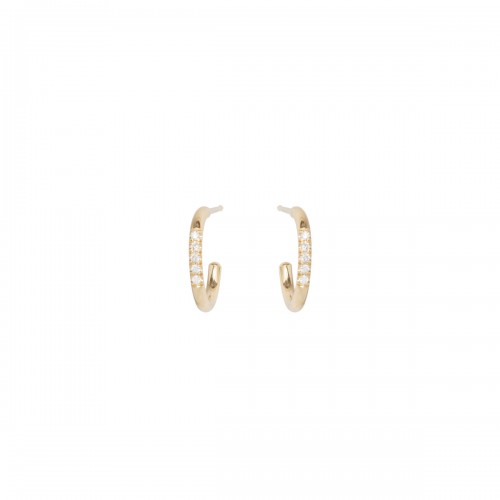 Zoe Chicco Thick Huggie Hoops W/ 5 Pave Diamonds In Middle