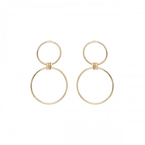 Zoe Chicco 2 Mixed Circle Drop Earrings With 3 Rings Connector