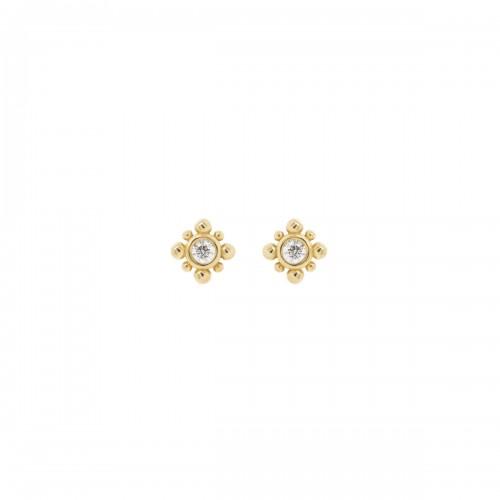 Zoe Chicco Tiny Bead Starburst Diamond Studs Pair