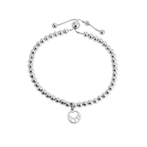 Silver Beaded  Mini Paw Bracelet