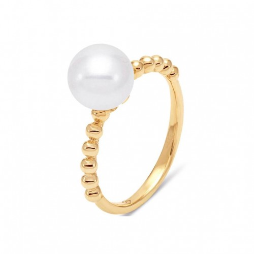 Gold Beaded Pearl Ring