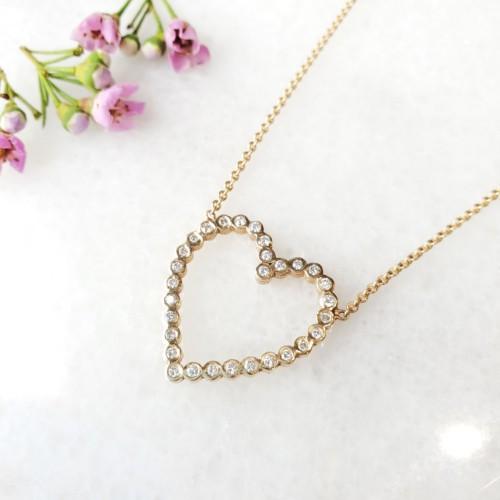 Zoe Chicco Open Bezel Set Diamond Heart Necklace