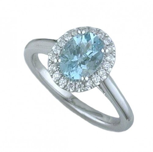 1.01Ct Oval Aquamarine With .16 Diamond Halo Ring In 14K White Gold