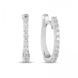 Roberto Coin  White Gold Diamond Baby Hoop Earring