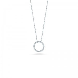 Roberto Coin  White Gold Diamond Extra Small Circle Necklace
