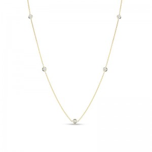 Roberto Coin  Yellow Gold 5 Station Diamonds By The Inch Necklace