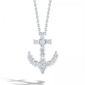 Roberto Coin White Gold Diamond Baby Anchor Necklace