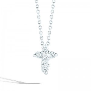 Roberto Coin  White Gold Diamond Baby Cross Necklace