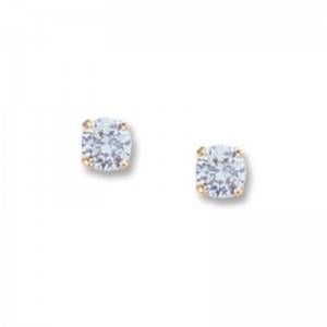 Pd Collection Yg 4Mm Sky Blue Topaz Earrings