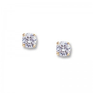 Pd Collection Yg 4Mm Wg Topaz Earrings