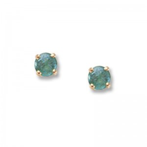 Pd Collection Yg 4Mm Emerald Stud Earrings