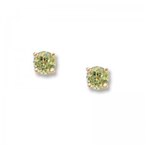 Pd Collection Yg 4Mm Peridot Earrings