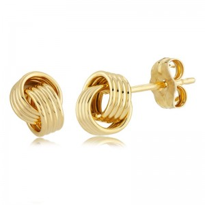14K YELLOW GOLD INTERLOCKING COILS EARRINGS