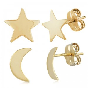 Pd Collection Yg Moon And Star Set Earrings