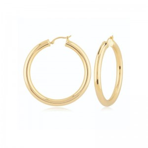 PD Collection Yg 4X40Mm S/D Hoop Earrings