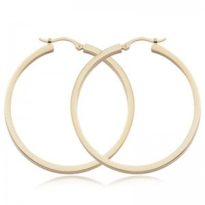 Pd Collection Yg 2X40Mm Sq Tube Hoop Earrings By Providence Diamond Collection