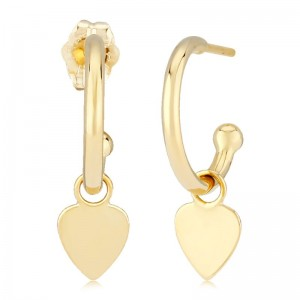 Pd Collection Yg 1.5X12Mm With Flat Heart Drop Earrings