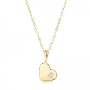 Pd Collection Yg Heart Pendant W/ .03Ctw Diamond