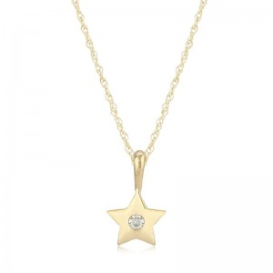 Pd Collection Yg Star Pendant With .03Ct Diamond